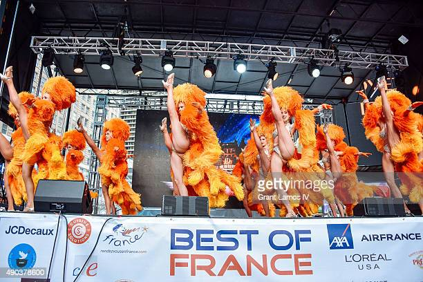 Moulin Rouge dancers perform at the Best Of France main stage in Times Square on September 27 2015 in New York City This stop was part of Moulin...