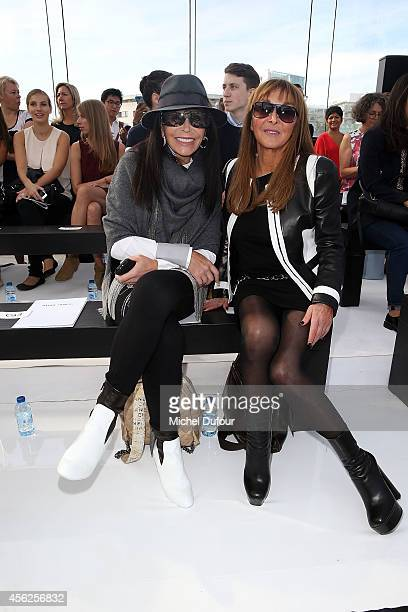 Mouna Ayoub and Babette Djian attend the Maxime Simoens show as part of the Paris Fashion Week Womenswear Spring/Summer 2015 on September 28 2014 in...