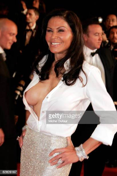 Mouna Ayoub attends a screening of 'Kiss Kiss Bang Bang' at the Grand Theatre during the 58th International Cannes Film Festival on May 14 2005 in...