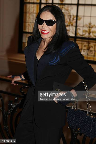 Mouna Ayoub attends the Jean Paul Gaultier show as part of Paris Fashion Week Haute Couture Fall/Winter 20142015 at 325 Rue Saint Martin on July 9...