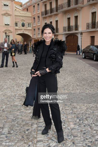 Mouna Ayoub attends the Louis Vuitton Cruise Line Show at place d'armes on May 17 2014 in MonteCarlo Monaco