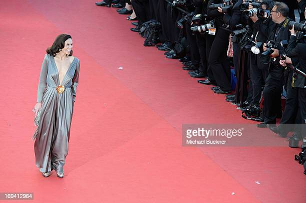 Mouna Ayoub attends the 'The Immigrant' premiere during The 66th Annual Cannes Film Festival at the Palais des Festivals on May 24 2013 in Cannes...