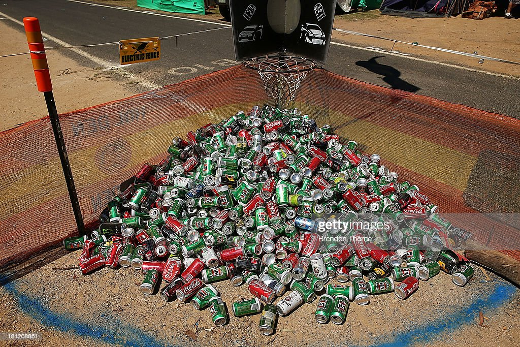 A mound of beer cans lay in the camping grounds during the Bathurst 1000, which is round 11 of the V8 Supercars Championship Series at Mount Panorama on October 12, 2013 in Bathurst, Australia.