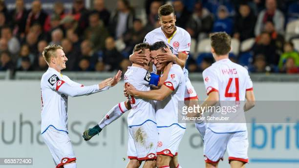 Mounir Bouziane of Mainz celebrates the second goal for his team during the Third League match between SV Wehen Wiesbaden and FSV Mainz 05 II at...