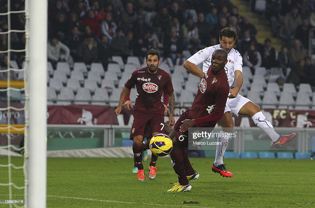 Mounir El Hamdaoui of ACF Fiorentina scores the winning goal during the Serie A match between Torino FC and ACF Fiorentina at Stadio Olimpico di Torino on November 25, 2012 in Turin, Italy.