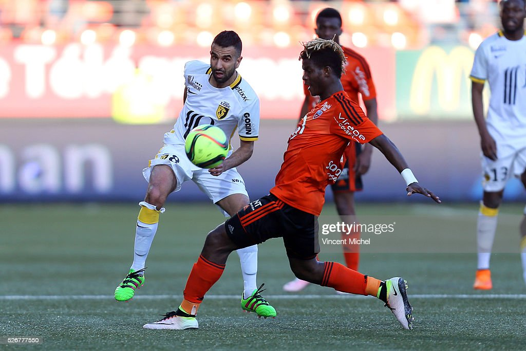 Mounir Obbadi of Lille during the French Ligue 1 match between Fc Lorient and Lille OSC at Stade du Moustoir on April 30 2016 in Lorient France