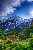 Wide Angle picture from Artist's Point towards Mount Baker in Whatcom County, Washington, USA.