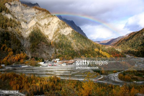 Mount Blanc Tunnel Landscape with Rainbow