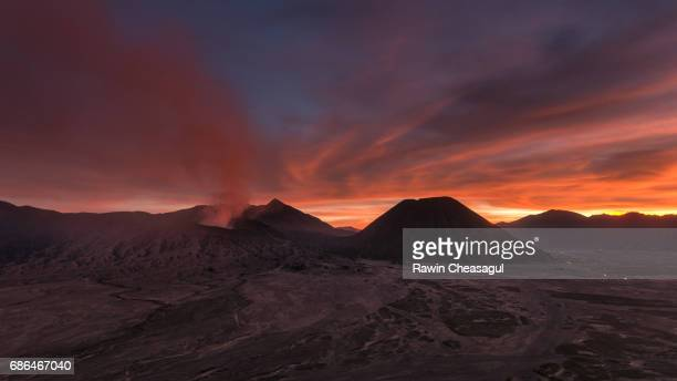 Mount Bromo with fire sky