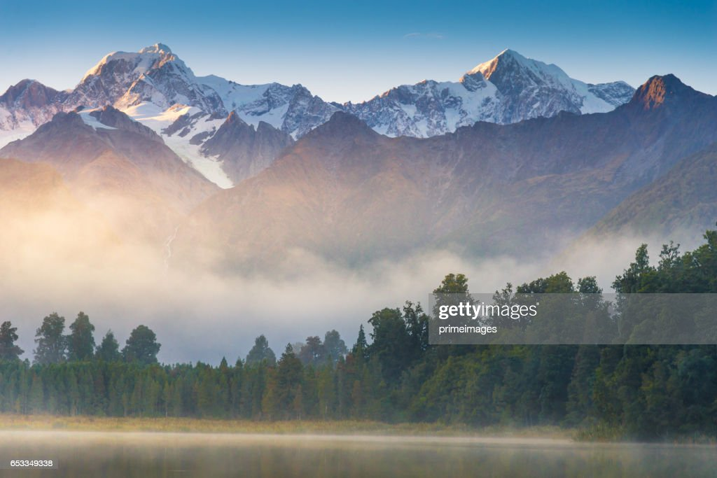 Mount Cook in Lake Matheson New Zealand : Stock Photo