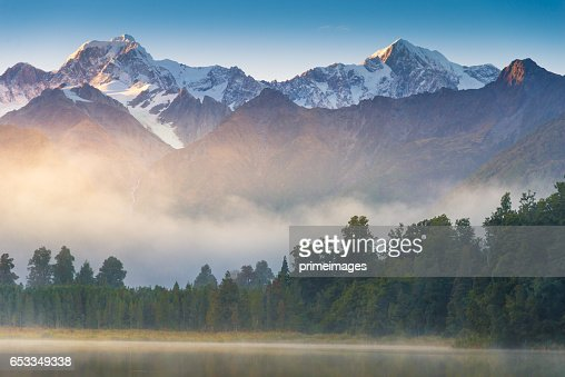Mount Cook in See lake Matheson Neuseeland : Stock-Foto