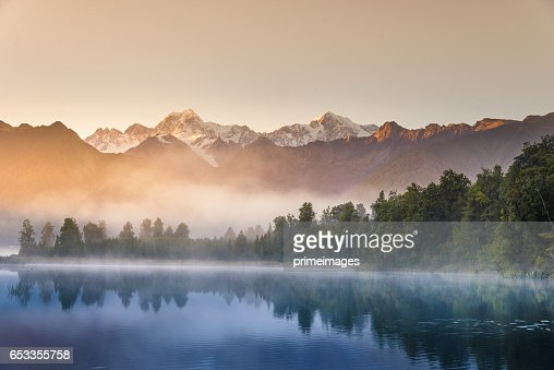 Mount Cook in See lake Matheson Neuseeland : Stock-Foto