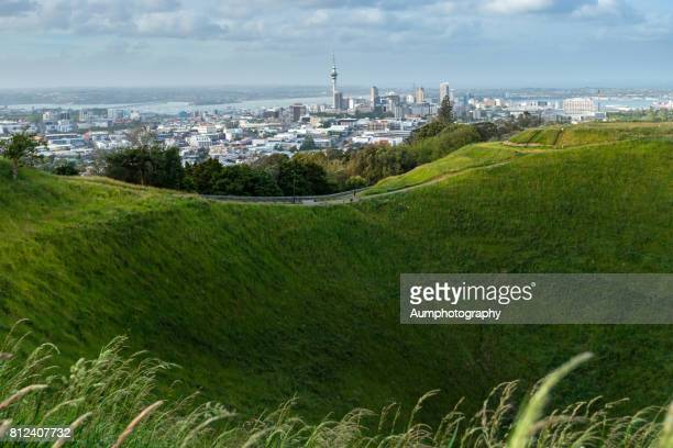 Mount eden with Auckland city Background, New Zealand.