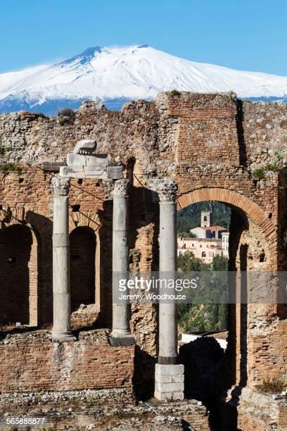 Mount Etna over Greek Theater ruins, Taormina, Messina, Sicily