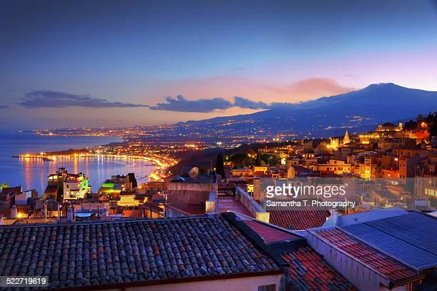 Mount Etna overlooking Taormina Sicily