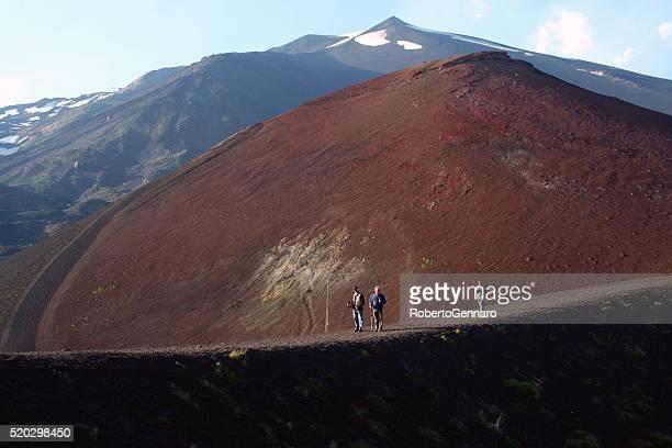 Mount Etna volcano Sicily tourists hiking