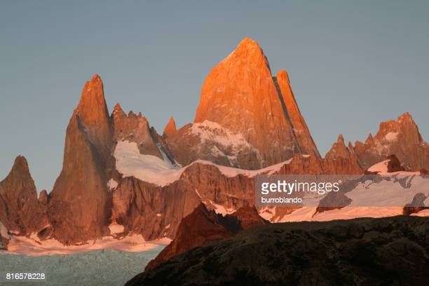 Mount Fitz Roy in the first rays of the sunrise in the patagonian andes in Argentinian Patagonia, South America