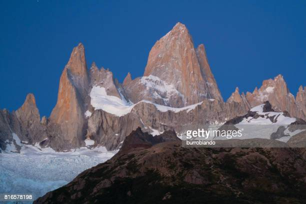 Mount Fitz Roy in the pre-dawn light in the patagonian andes in Argentinian Patagonia, South America