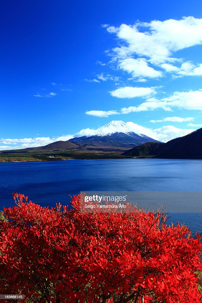 Mount Fuji and lake Motosu, Yamanashi Prefecture
