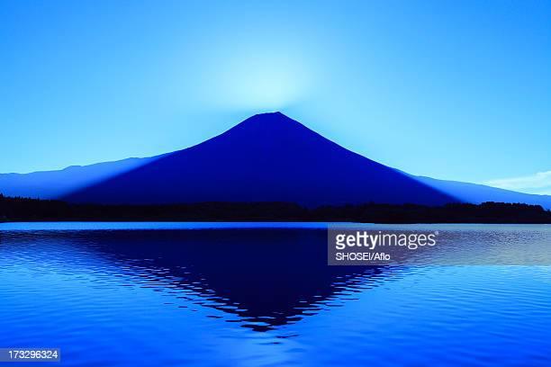 Mount Fuji and Lake Tanuki before dawn, Shizuoka Prefecture