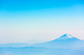 Aerial view of Mount Fuji Japan with blue sky