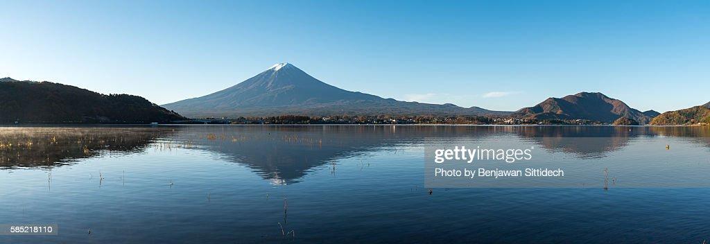 Mount Fuji reflected in Kawaguchi lake