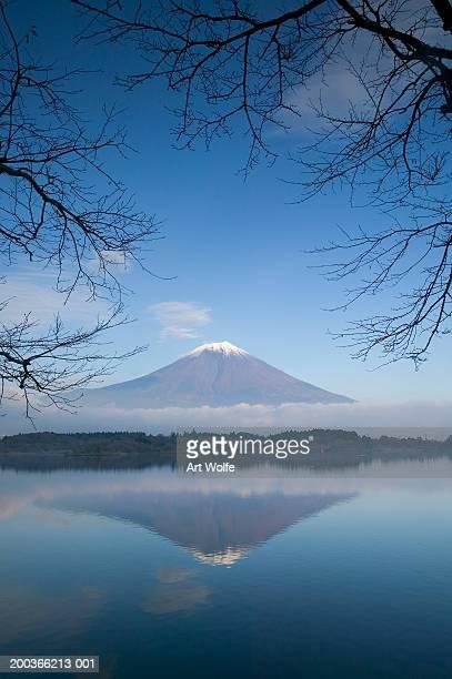 Mount Fuji reflected in Lake Motosu, Fuji-Hakone-Izu National Park, Honshu, Japan