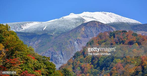Mount Hakusan is covered with the first snow of the season on October 14 2015 in Hakusan Ishikawa Japan