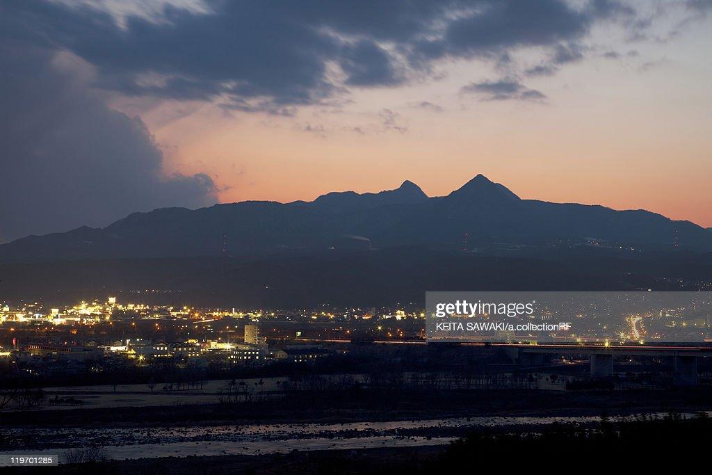 Mount Komochi and Shibukawa at Dusk