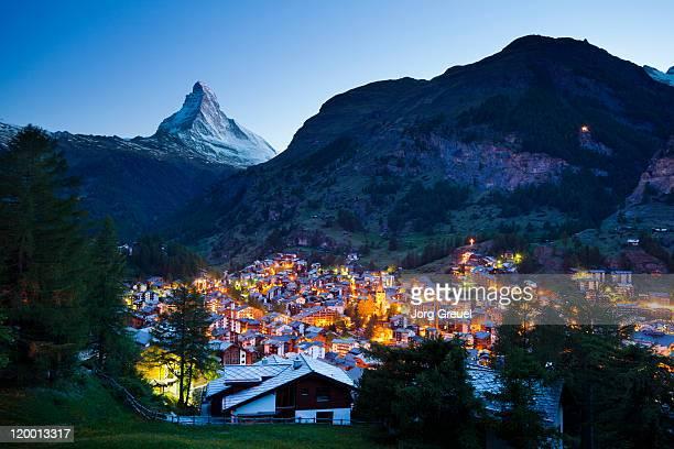 Mount Matterhorn and Zermatt at dusk