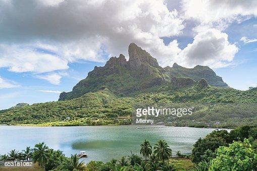 Mount Pahia Bora Bora Island French Polynesia : Stock Photo