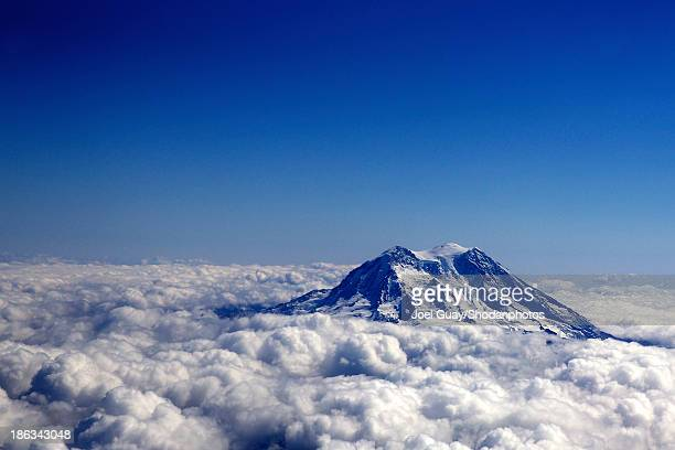 Mount Rainier aerial above the clouds