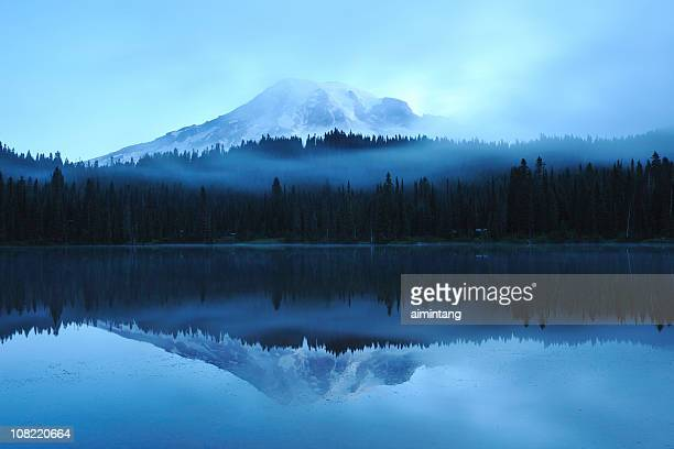 Mount Rainier Reflection on Lake at Dawn