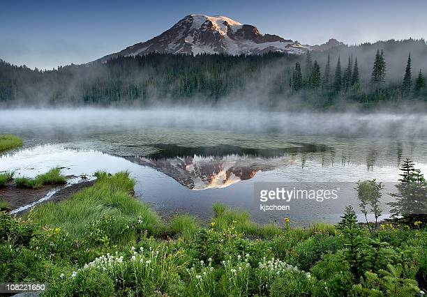 Mount Rainier with Fog from Reflection Lakes