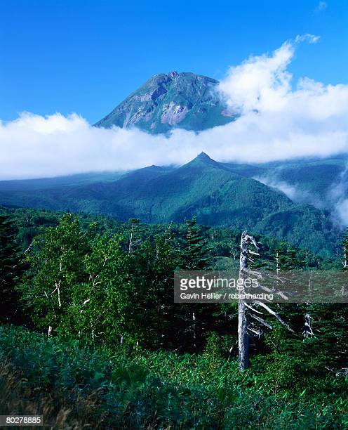 Mount Rauso-dake with low cloud, Shiretoko Peninsula, Hokkaido, Japan, Asia