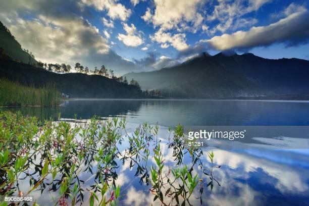 Mount Rinjani reflection in a lake, Lombok, West Nusa Tenggara, Indonesia
