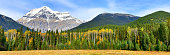 Panorama view of Mount Robson,the highest mountain in the Canadian Rockies, in British Columbia