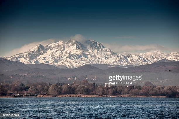 Mount Rosa beyond Lake Maggiore, Arona, Italy