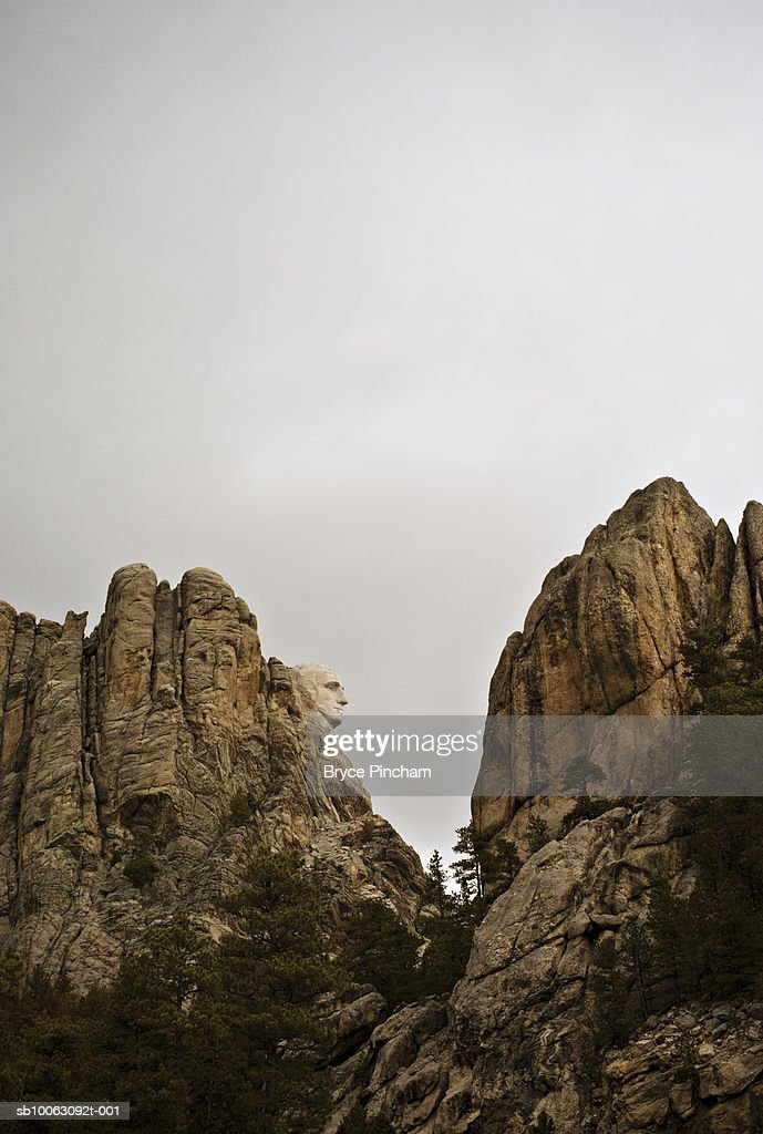 Mount Rushmore, low angel view : Stock Photo