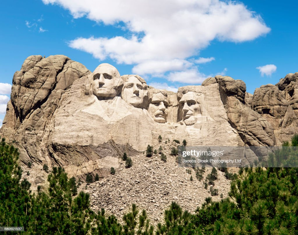 Mount Rushmore monument under blue sky, South Dakota, United States