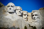 The famous Mount Rushmore National Monument in South Dakota with a slight vignette.
