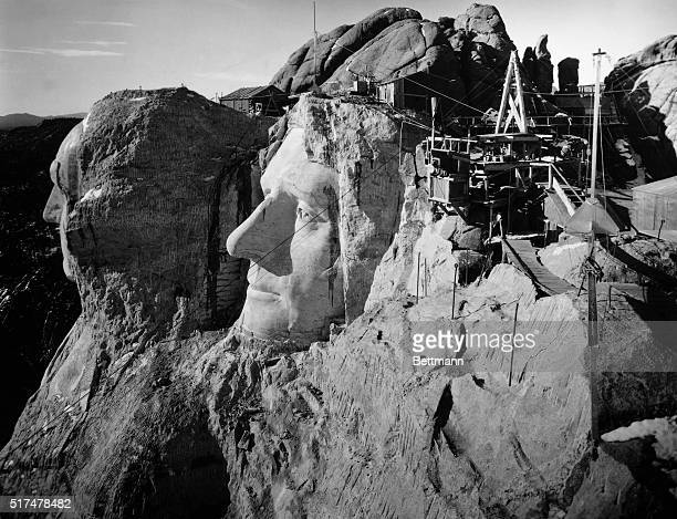 Mount Rushmore South Dakota The head of Washington and Jefferson from the top of Lincoln's head Undated photograph Ca 1940s