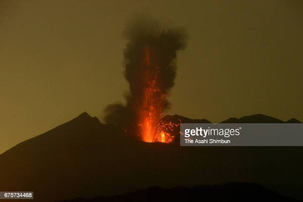 Mount Sakurajima erupts at 320am on May 2 2017 in Tarumizu Kagoshima Japan Five eruptions are recorded until noon and volcanic smoke reached to 4000m...
