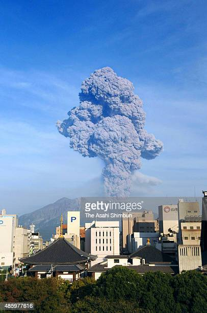 Mount Sakurajima erupts on October 3 2009 in Kagoshima Japan