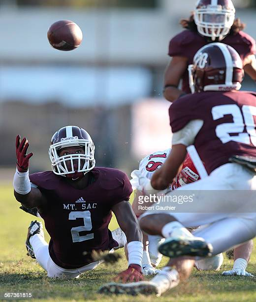 WALNUT CA SATURDAY DECEMBER 13 2014 Mount San Antonio College defensive back Tyquwan Glass stretches but can't reach the ball after knocking it away...