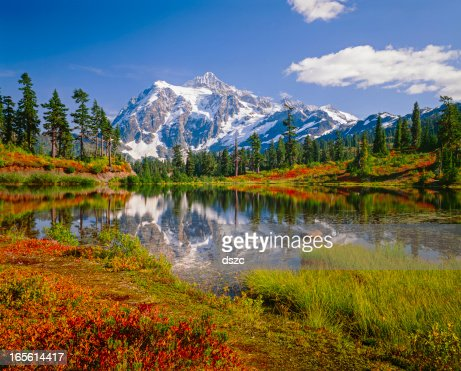 Mount Shuksan, Picture Lake, snowcapped mountain, autumn colored brush