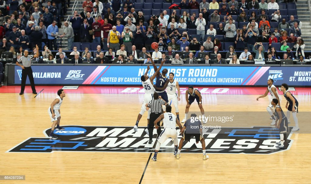 Mount St. Mary's Mountaineers center Mawdo Sallah (1) wins the tip-off over Villanova Wildcats forward Darryl Reynolds (45) during the NCAA Division I Men's Basketball Championship first round game between Mount St. Mary's Mountaineers and Villanova Wildcats on March 16, 2017 at the Key Bank Center in Buffalo, NY.