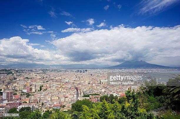 Mount Vesuvius and Naples, seen from Vomero, Campania, Italy, Europe