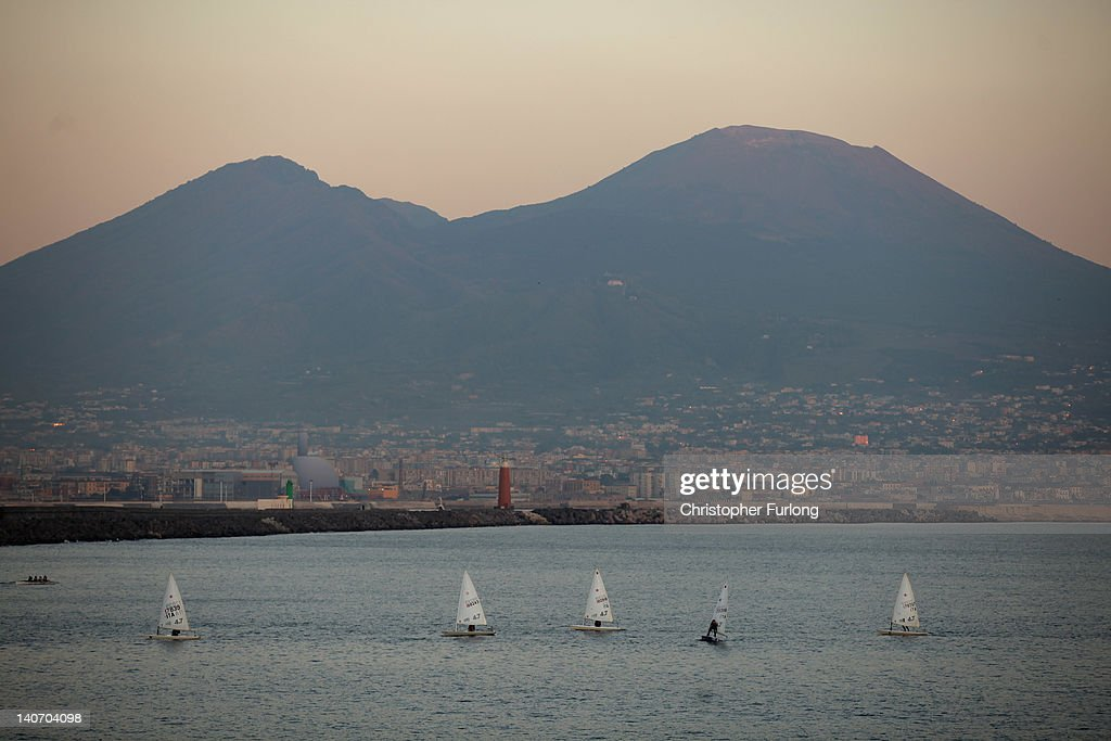 Mount Vesuvius overlooks the Bay of Naples on November 17, 2011 in Naples, Italy. Naples is famed for it's narrow streets, pizza, Mount Vesuvius and Unesco protected buildings.