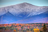 Mt Washington in New Hampshire is the highest peak in the Northeastern United States at 6,288 ft. Photo taken during the peak fall foliage season. New Hampshire is one of New England's most popular fa